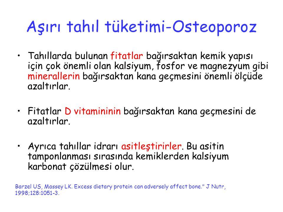 Aşırı tahıl tüketimi-Osteoporoz Tahıllarda bulunan fitatlar bağırsaktan kemik yapısı için çok önemli olan kalsiyum, fosfor ve magnezyum gibi mineralle