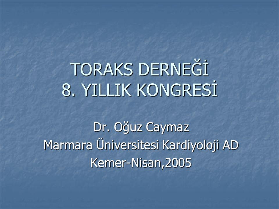 TORAKS DERNEĞİ 8. YILLIK KONGRESİ Dr. Oğuz Caymaz Marmara Üniversitesi Kardiyoloji AD Kemer-Nisan,2005