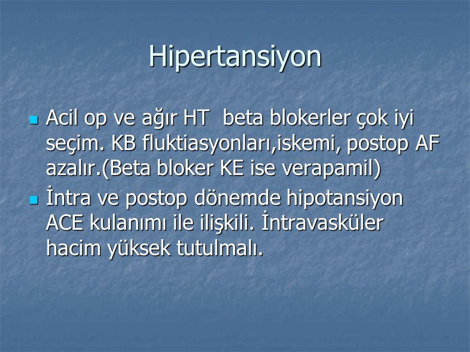 Hipertansiyon Acil op ve ağır HT beta blokerler çok iyi seçim. KB fluktiasyonları,iskemi, postop AF azalır.(Beta bloker KE ise verapamil) Acil op ve a