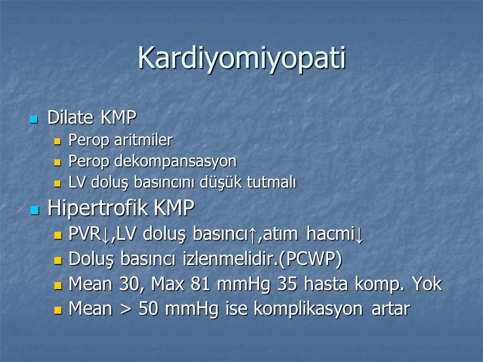 Kardiyomiyopati Dilate KMP Dilate KMP Perop aritmiler Perop aritmiler Perop dekompansasyon Perop dekompansasyon LV doluş basıncını düşük tutmalı LV do