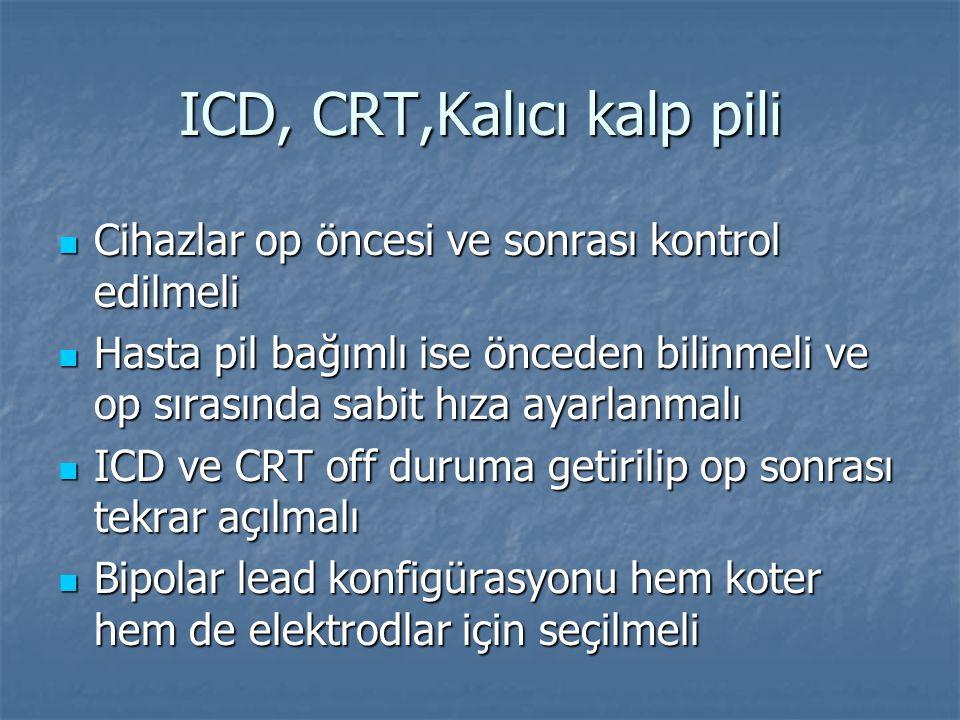 ICD, CRT,Kalıcı kalp pili Cihazlar op öncesi ve sonrası kontrol edilmeli Cihazlar op öncesi ve sonrası kontrol edilmeli Hasta pil bağımlı ise önceden