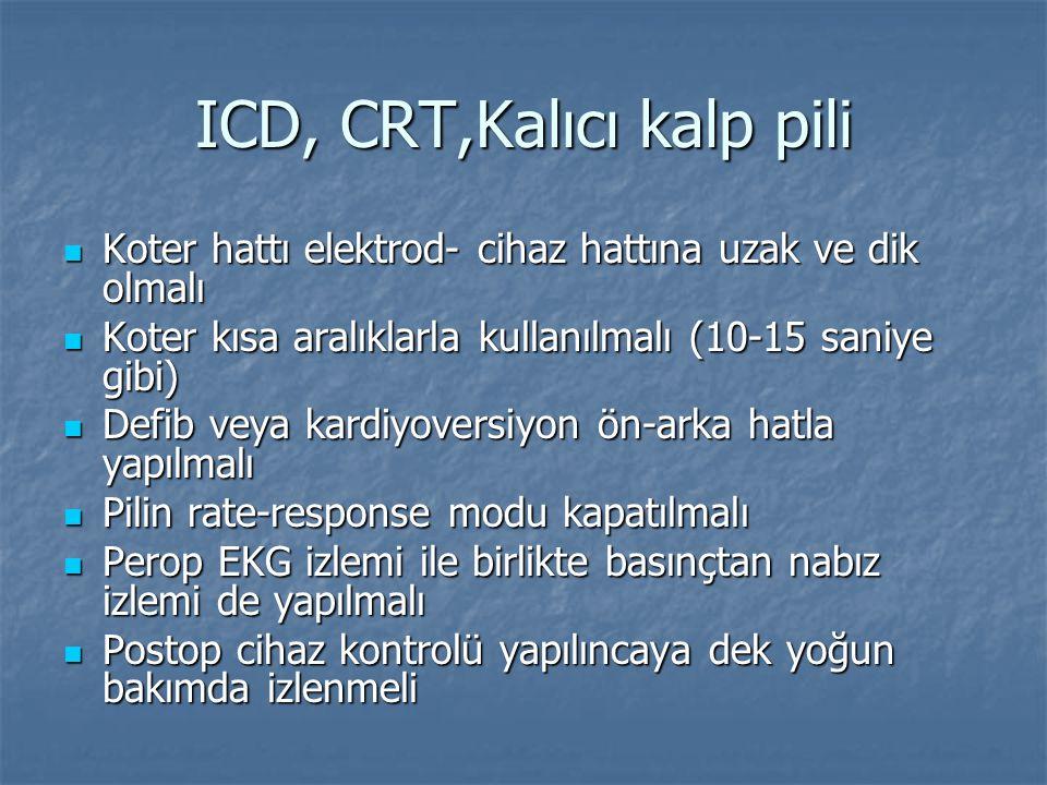 ICD, CRT,Kalıcı kalp pili Koter hattı elektrod- cihaz hattına uzak ve dik olmalı Koter hattı elektrod- cihaz hattına uzak ve dik olmalı Koter kısa ara