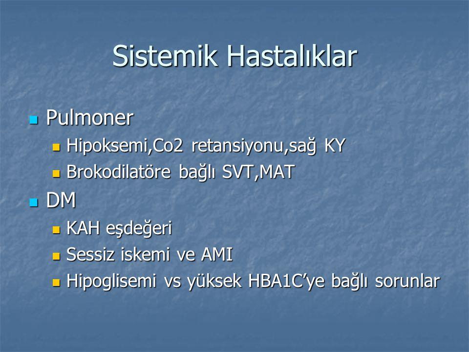 Sistemik Hastalıklar Pulmoner Pulmoner Hipoksemi,Co2 retansiyonu,sağ KY Hipoksemi,Co2 retansiyonu,sağ KY Brokodilatöre bağlı SVT,MAT Brokodilatöre bağ