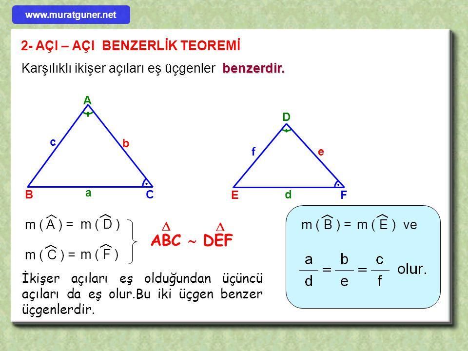 ÖRNEK Şekilde I AB I = I BE I I BC I = I BD I I AD I = 12 cm m( ABE ) = m( DBC )= 60° ise I EC I =?  60° A B C D E ÇÖZÜM 60°+ c A B D C E B c 12 www