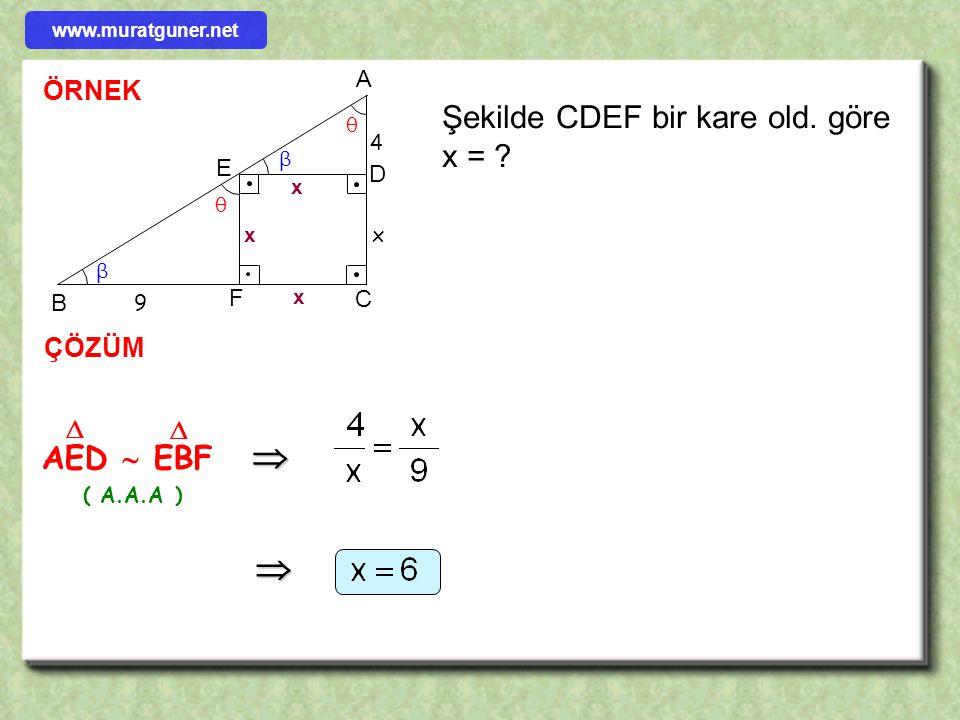 ÖRNEK ÇÖZÜM ABC  CDE     x = 12 ( A.A.A ) Şekilde verilenlere göre x = ? A BC D E 6 x 4 2     www.muratguner.net