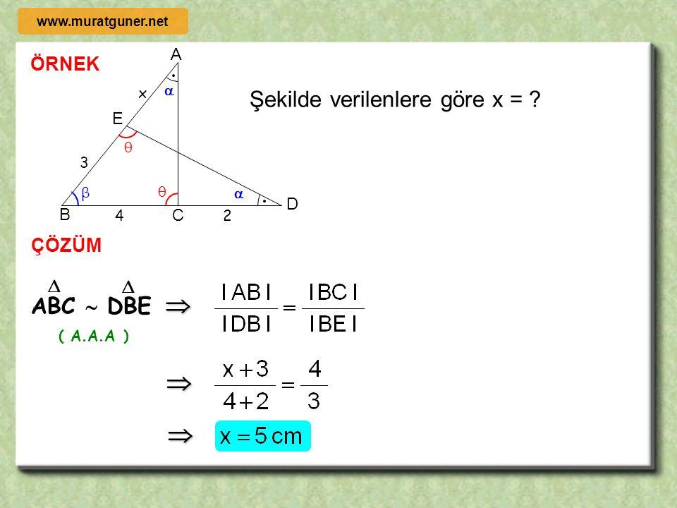 ÖRNEK ÇÖZÜM B D C A F E 9 4 x Şekilde CDEF bir kare old. göre x = ? θ β θ β x x x AED  EBF     ( A.A.A ) www.muratguner.net