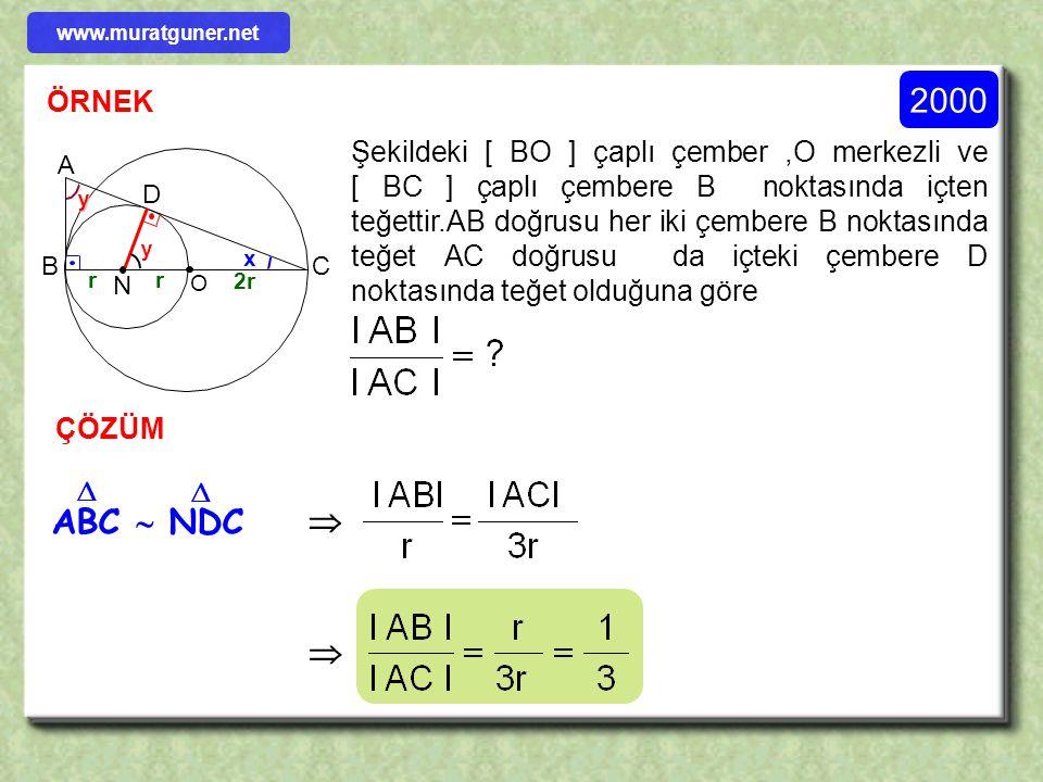 1993 ÖRNEK 24 10 B D C A E l BC l = x = ? Şekildeki l BC l = x = ? x 8 ÇÖZÜM    ABC  EBD     www.muratguner.net