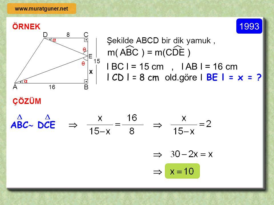 2000 ÖRNEK ÇÖZÜM A B O D C Şekildeki [ BO ] çaplı çember,O merkezli ve [ BC ] çaplı çembere B noktasında içten teğettir.AB doğrusu her iki çembere B n