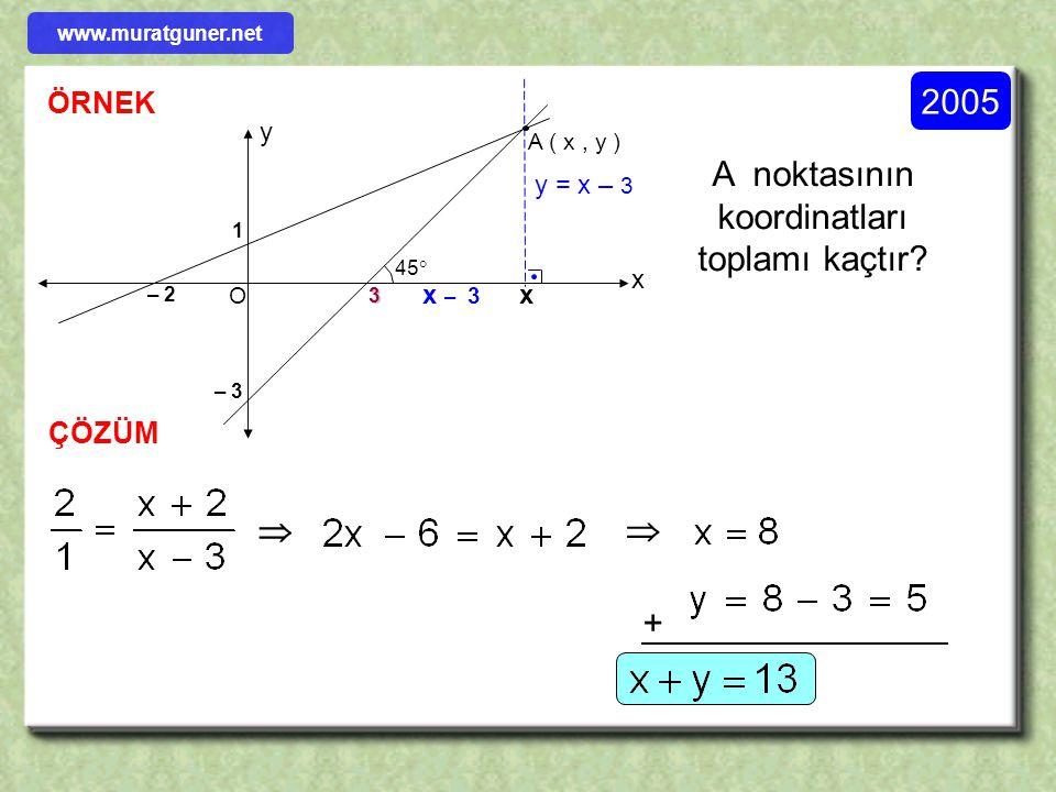 ÖRNEK ÇÖZÜM 1996 l EC l = x = ? Şekildeki ABC üçgeninde D, E ve F noktaları kenarlar üzerinde olup BFED bir eşkenar dörtgendir. Buna göre l EC l = x =