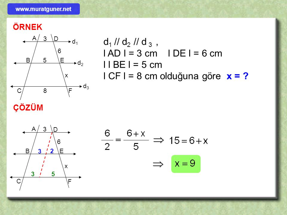 ÖRNEK ÇÖZÜM d1d1 d2d2 d3d3 C B A D E F 2 3 x d 1 // d 2 // d 3, l DF l = 10 cm l AB l = 2 cm l BCl = 3 cm olduğuna göre x = ?     www.muratguner.n