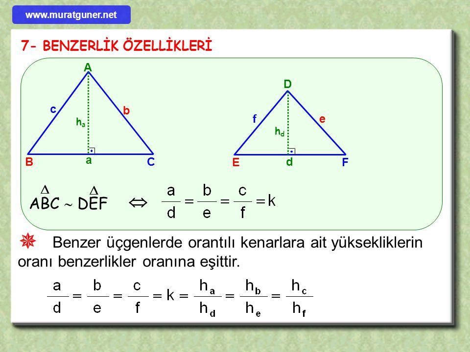 ÖRNEK ÇÖZÜM 2 5 8 x 4 C B AD E F [ AD ] // [ BE ] // [ CF ] l AD l = 5 cm l BE l = 8 cm l l AB l = 2 cm l BC l = 4 cm l CF l = 8 cm olduğuna göre x =