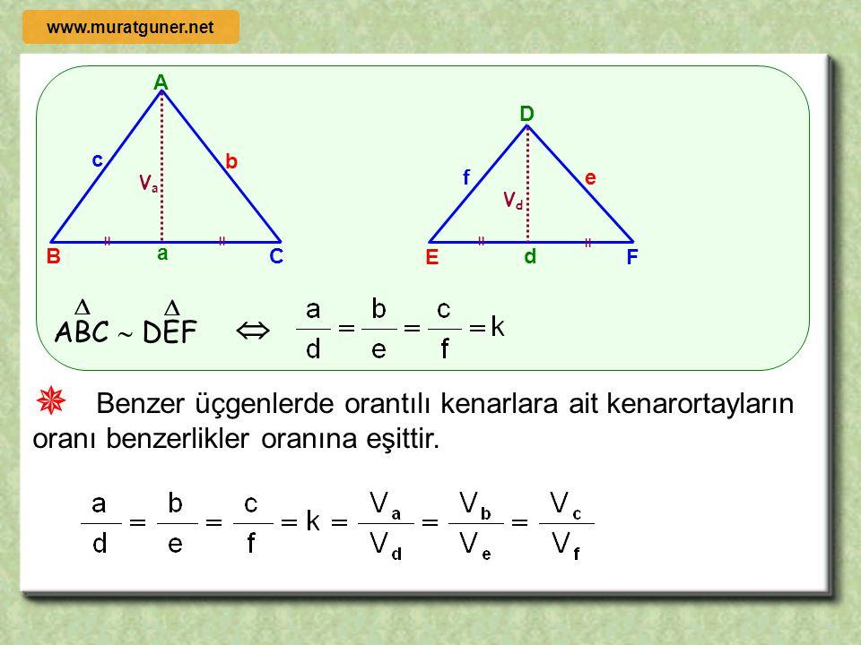 ÖRNEK ÇÖZÜM ABC  EDC    A B C D E m( ABC ) = m(CDE )   l AK l = 5 cm l LE l = 3 cm l BD l = 16cm olduğuna göre l BC l = ? K L   θ θ  +  www.