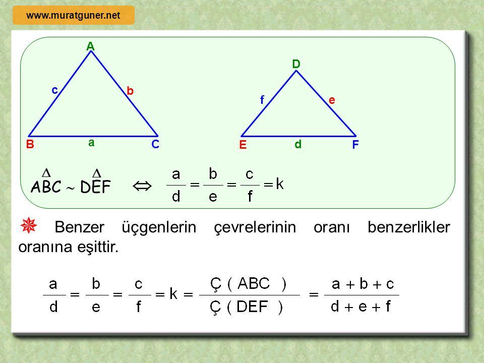 A B C b c a D E F ef d ABC  DEF     Benzer üçgenlerde orantılı kenarlara ait açıortayların oranı benzerlikler oranına eşittir. nAnA nDnD www.mura