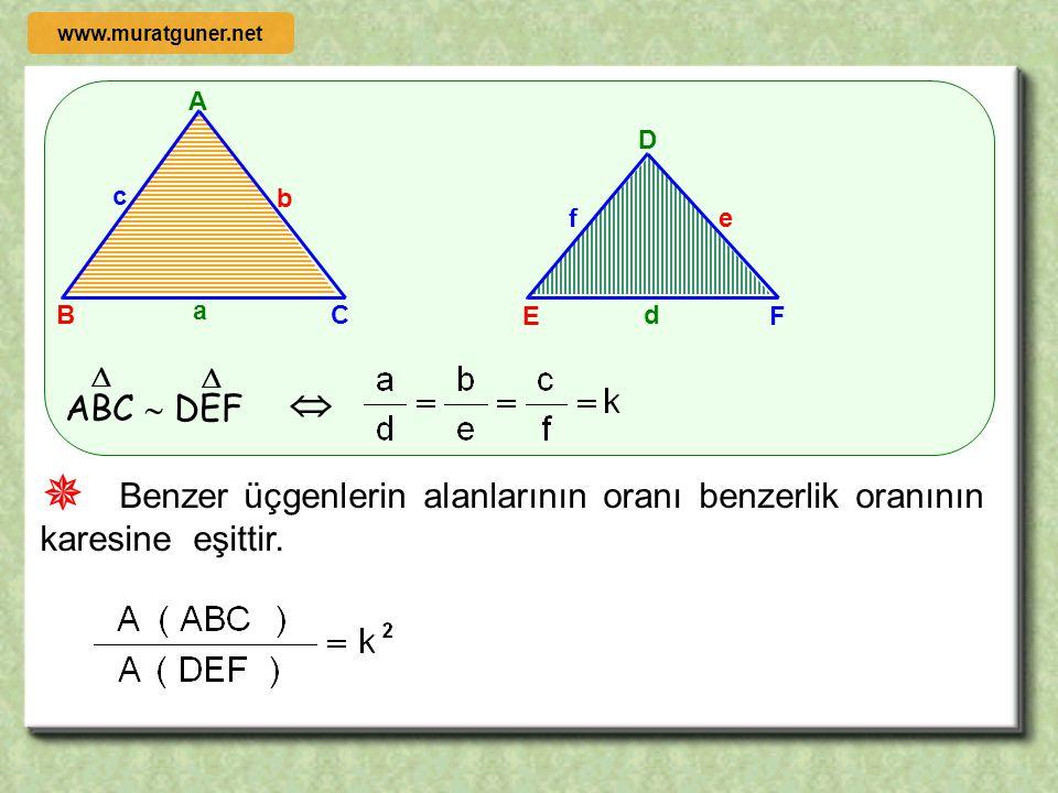 A B C b c a D E F ef d ABC  DEF     Benzer üçgenlerin çevrelerinin oranı benzerlikler oranına eşittir. www.muratguner.net