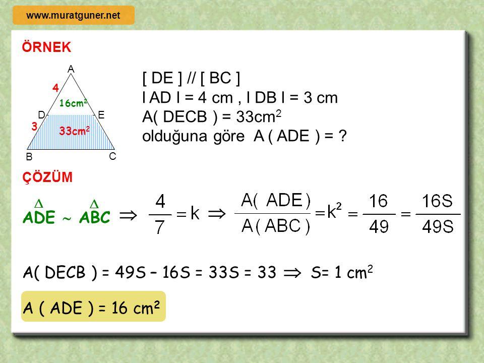 2000 ÖRNEK ÇÖZÜM 1 B DC A 4 ABCD bir dikdörtgen, l AD l = 3 cm l DC l = 4 cm, l CF l = 2 cm l AE l > l EB l olduğuna göre 3 2 F E x 4 – x θ β θ β BF