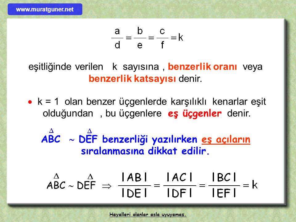 1- BENZER ÜÇGENLER Karşılıklı açıları eş ve karşılıklı kenarları orantılı olan üçgenlere b bb benzer üçgenler denir. A B C b c a D E F ef d m ( A ) =