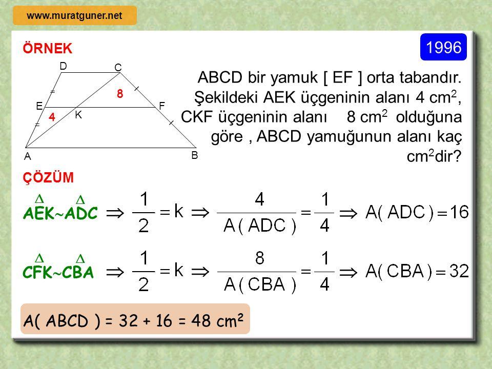 ÖRNEK ÇÖZÜM 1995 B A C [ EF ] // [ BC ] A( EBCF ) = A( AEF ) olduğuna göre EF AEF  ABC     S S  www.muratguner.net