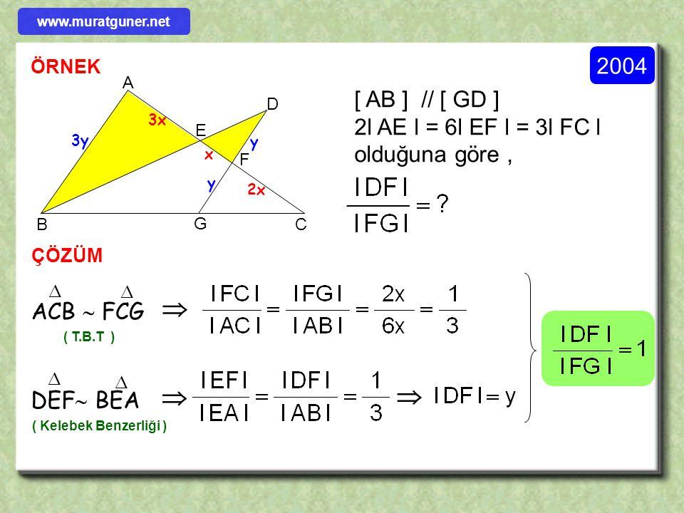 ÖRNEK ÇÖZÜM 2004 ABCD bir paralelkenar l DE l = 2 cm, l EC l = 1 cm dir. a Taralı bölgenin alanı a cm 2 olduğuna göre ABCD paralelkenarının alanı kaç