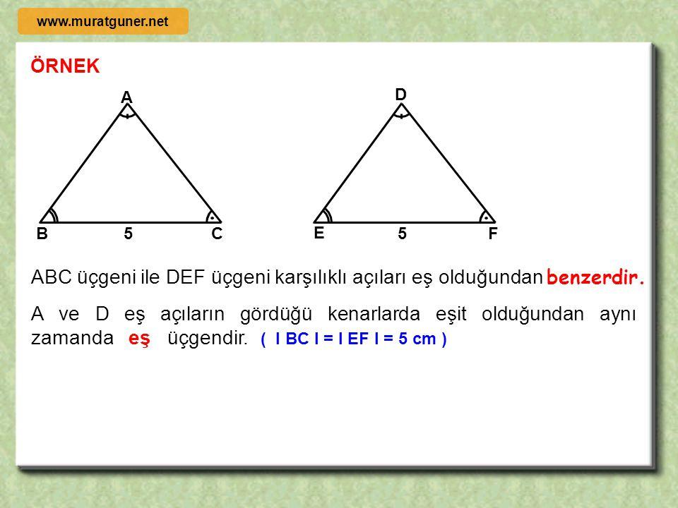 eşitliğinde verilen k sayısına, benzerlik oranı veya benzerlik katsayısı denir.  k = 1 olan benzer üçgenlerde karşılıklı kenarlar eşit olduğundan, bu