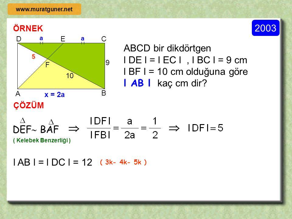 ÖRNEK 2004 ÇÖZÜM C A E F B D G [ AB ] // [ GD ] 2l AE l = 6l EF l = 3l FC l olduğuna göre, x 2x 3x y 3y y ACB  FCG   ( T.B.T )  DEF  BEA   ( Ke