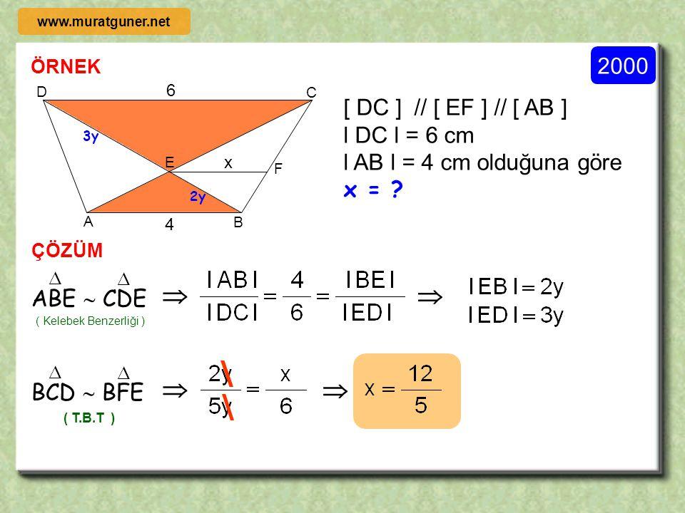 2002 ÖRNEK ÇÖZÜM ABCD bir kare l AE l = l EF l = l FB l, l BG l = l CG l A, H, G doğrusal D, H, F, doğrusal olduğuna göre D AB C F E G H D AB C F E G