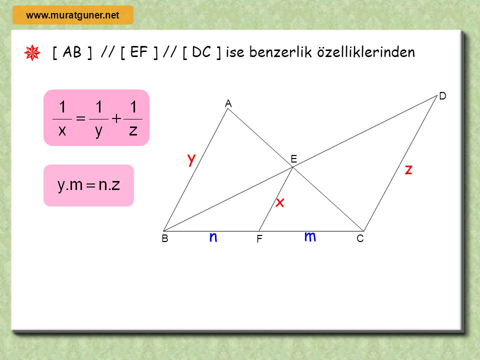 ÖRNEK ÇÖZÜM B D C L A E K [ DE ] // [ KL ] // [ BC ] l AD l = 2l DK l = 2l KB l A( DELK ) = 20 cm 2 olduğuna göre A(ABC ) kaç cm 2 dir? B D C L A E K