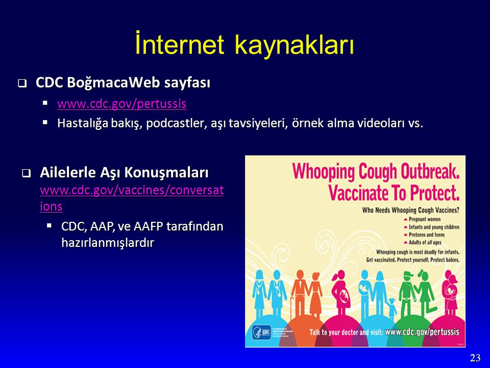 23 İnternet kaynakları  CDC BoğmacaWeb sayfası  www.cdc.gov/pertussis www.cdc.gov/pertussis  Hastalığa bakış, podcastler, aşı tavsiyeleri, örnek al