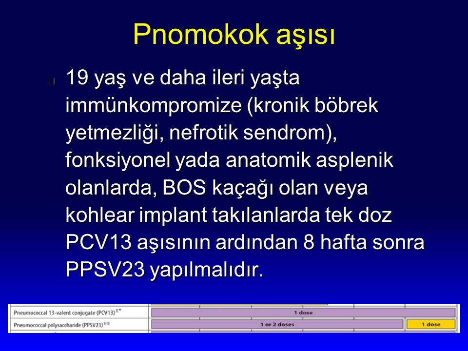 Pnomokok aşısı l 19 yaş ve daha ileri yaşta immünkompromize (kronik böbrek yetmezliği, nefrotik sendrom), fonksiyonel yada anatomik asplenik olanlarda
