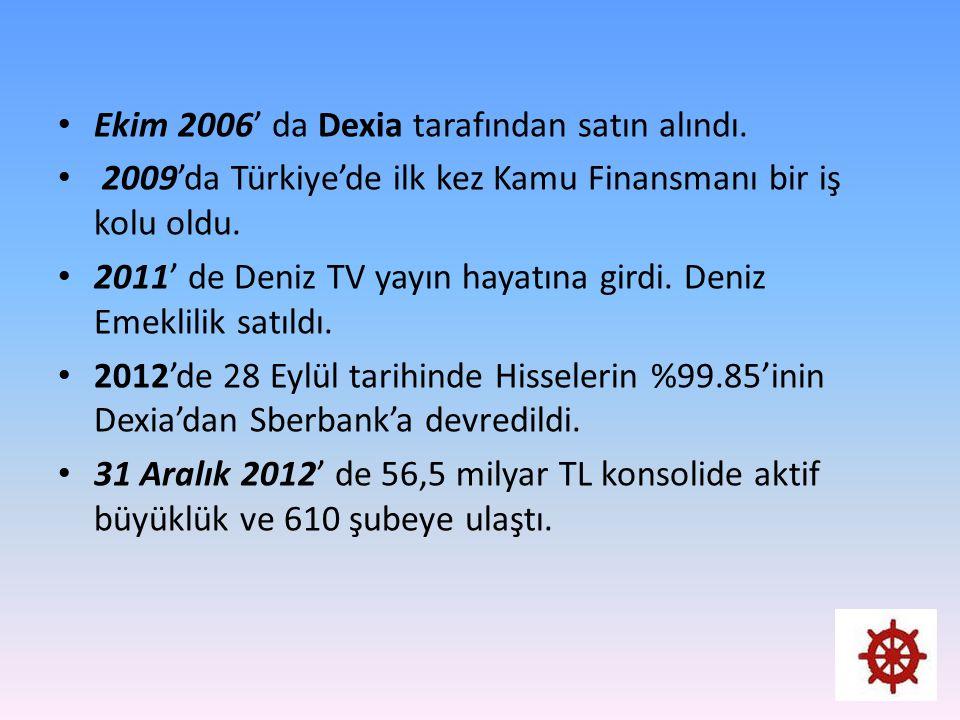 Ekim 2006' da Dexia tarafından satın alındı. 2009'da Türkiye'de ilk kez Kamu Finansmanı bir iş kolu oldu. 2011' de Deniz TV yayın hayatına girdi. Deni