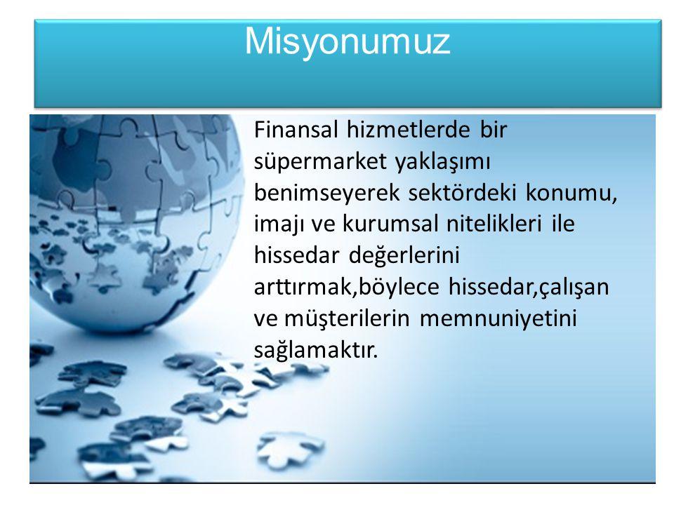 Vizyonumuz Finansal süpermarket anlayışı içinde sürdürülebilir ve karlı büyümeyi sağlayarak Türkiye'deki ilk beş banka arasında yer almak ve uluslararası finansal ortamın bölgemizdeki ortağı olmaktır.