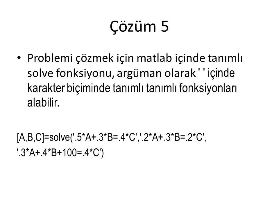 Çözüm 5 Problemi çözmek için matlab içinde tanımlı solve fonksiyonu, argüman olarak içinde karakter biçiminde tanımlı tanımlı fonksiyonları alabilir.