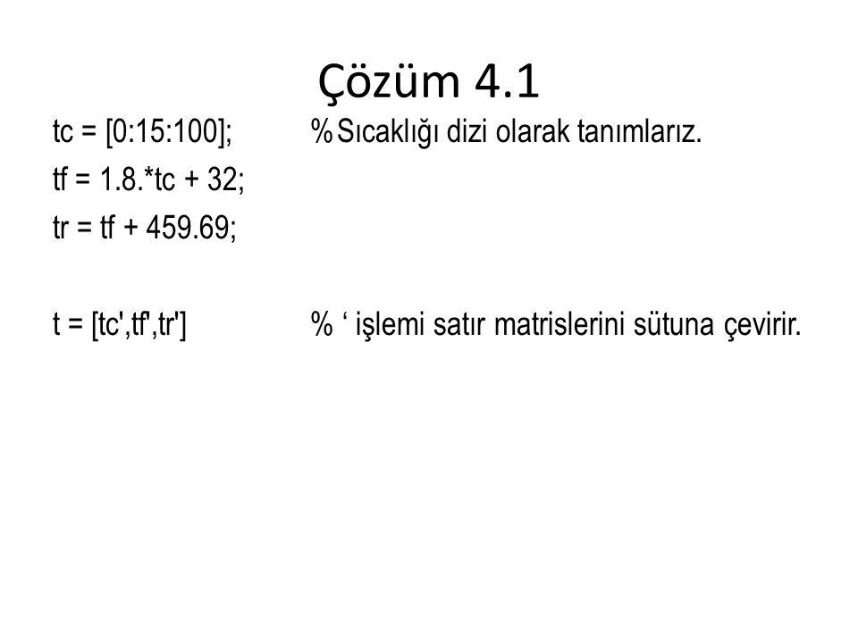 Çözüm 4.1 tc = [0:15:100];%Sıcaklığı dizi olarak tanımlarız.