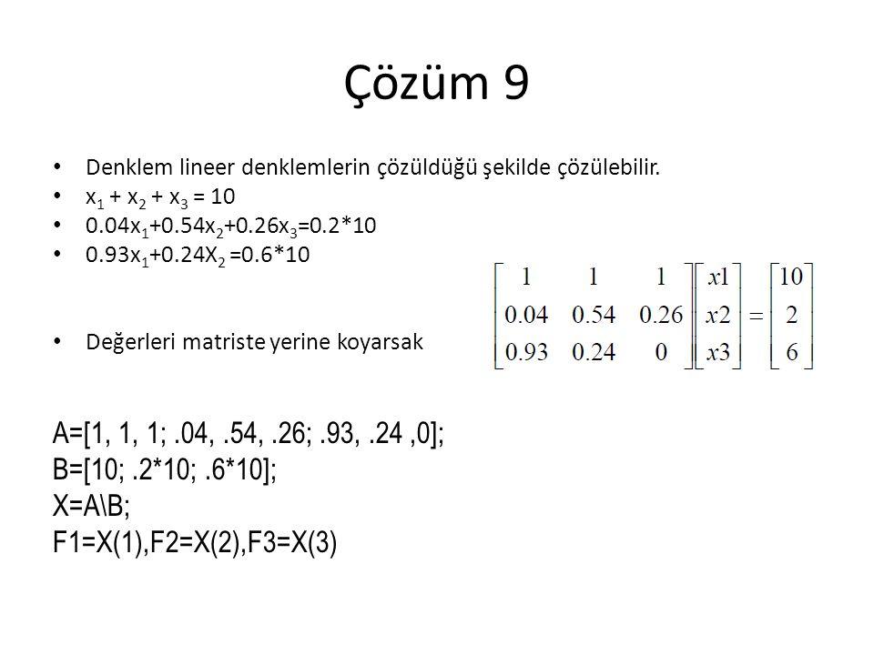 Çözüm 9 Denklem lineer denklemlerin çözüldüğü şekilde çözülebilir.