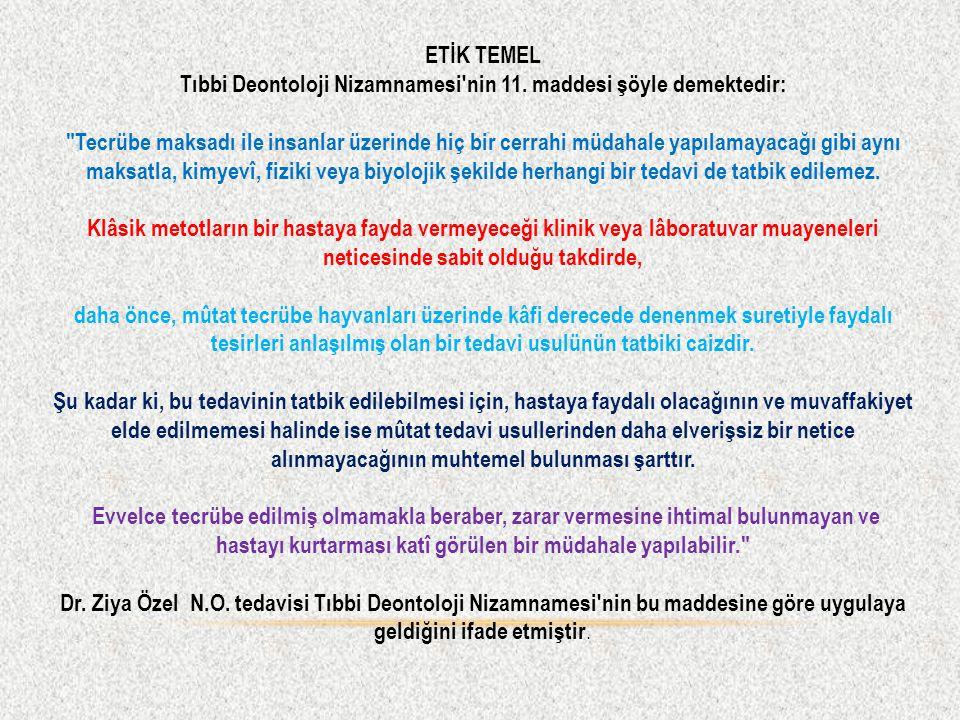 ETİK TEMEL Tıbbi Deontoloji Nizamnamesi nin 11.