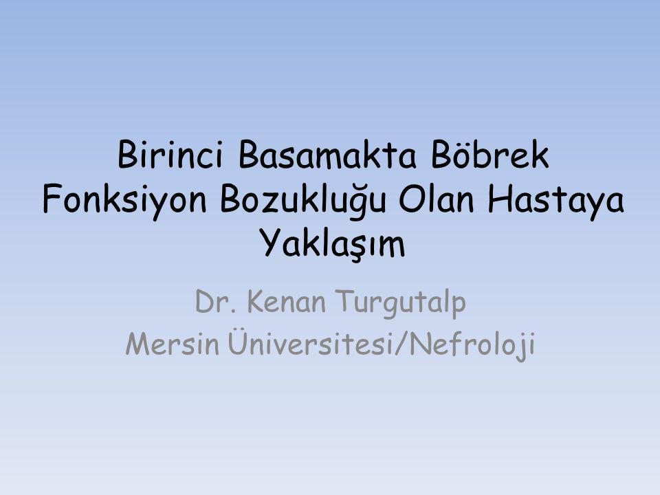 Birinci Basamakta Böbrek Fonksiyon Bozukluğu Olan Hastaya Yaklaşım Dr. Kenan Turgutalp Mersin Üniversitesi/Nefroloji