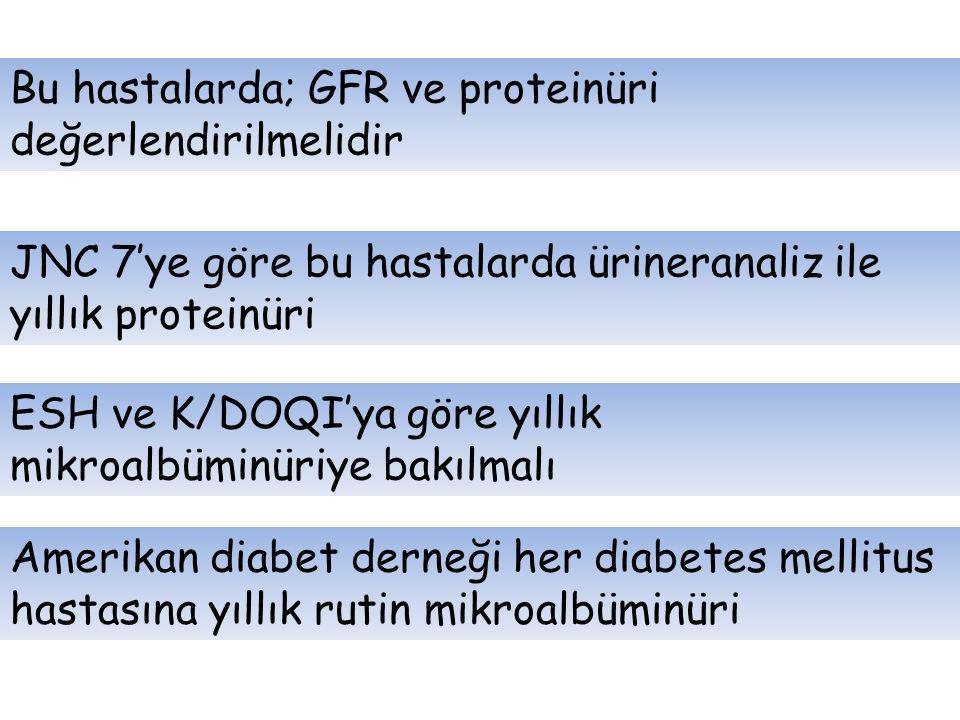 Bu hastalarda; GFR ve proteinüri değerlendirilmelidir JNC 7'ye göre bu hastalarda ürineranaliz ile yıllık proteinüri ESH ve K/DOQI'ya göre yıllık mikr