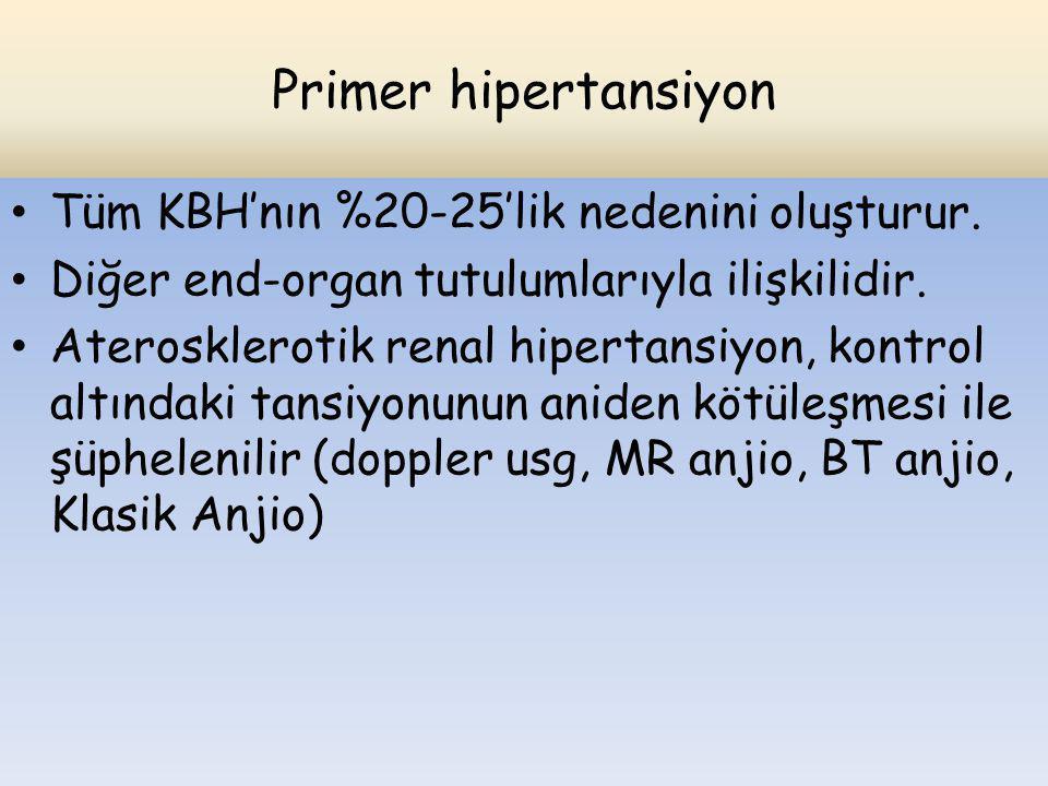 Primer hipertansiyon Tüm KBH'nın %20-25'lik nedenini oluşturur. Diğer end-organ tutulumlarıyla ilişkilidir. Aterosklerotik renal hipertansiyon, kontro