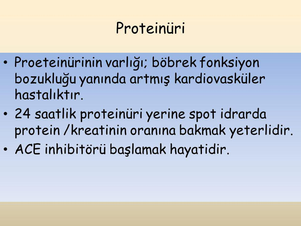 Proteinüri Proeteinürinin varlığı; böbrek fonksiyon bozukluğu yanında artmış kardiovasküler hastalıktır. 24 saatlik proteinüri yerine spot idrarda pro