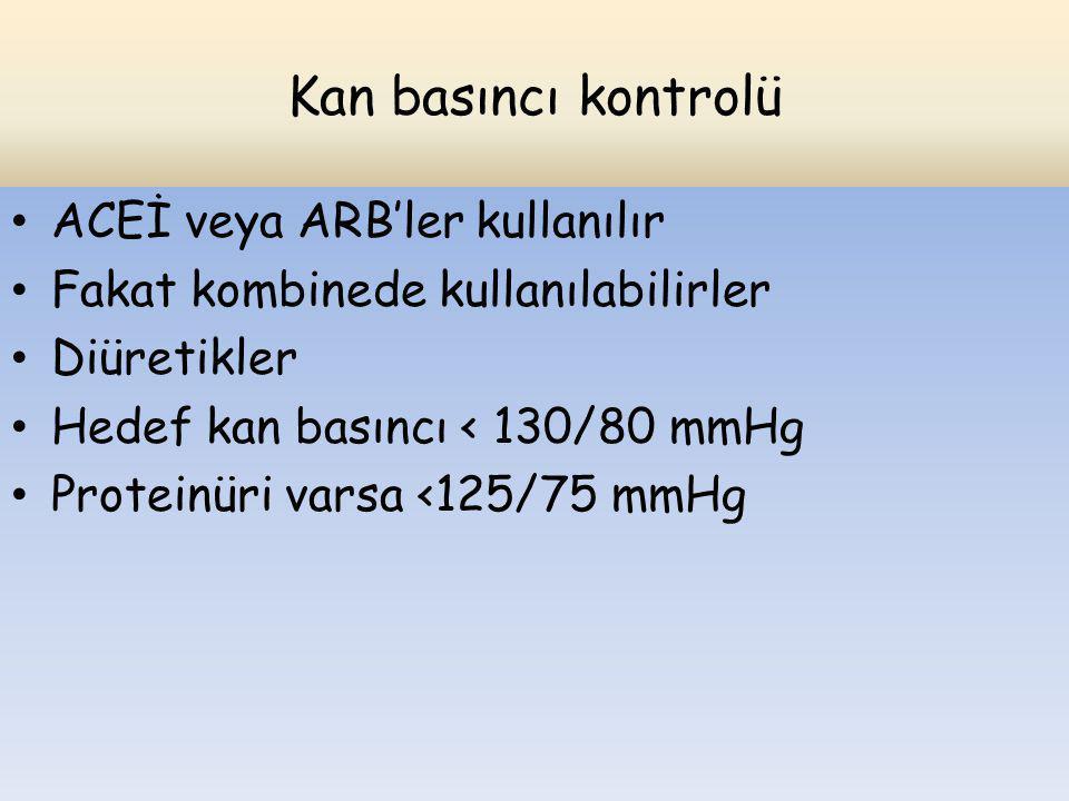Kan basıncı kontrolü ACEİ veya ARB'ler kullanılır Fakat kombinede kullanılabilirler Diüretikler Hedef kan basıncı < 130/80 mmHg Proteinüri varsa <125/