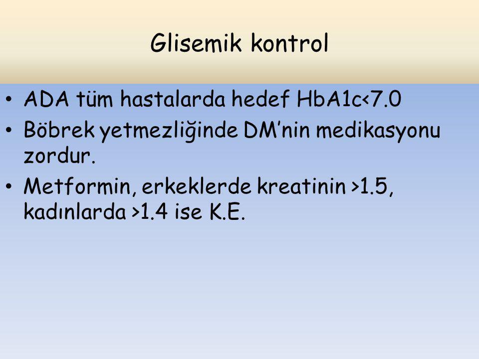 Glisemik kontrol ADA tüm hastalarda hedef HbA1c<7.0 Böbrek yetmezliğinde DM'nin medikasyonu zordur. Metformin, erkeklerde kreatinin >1.5, kadınlarda >