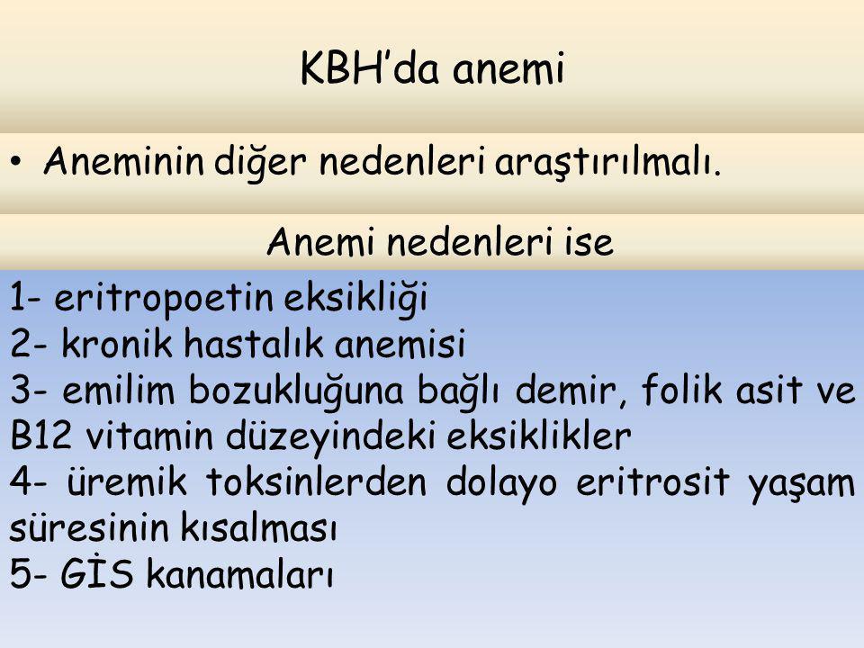KBH'da anemi Aneminin diğer nedenleri araştırılmalı. Anemi nedenleri ise 1- eritropoetin eksikliği 2- kronik hastalık anemisi 3- emilim bozukluğuna ba