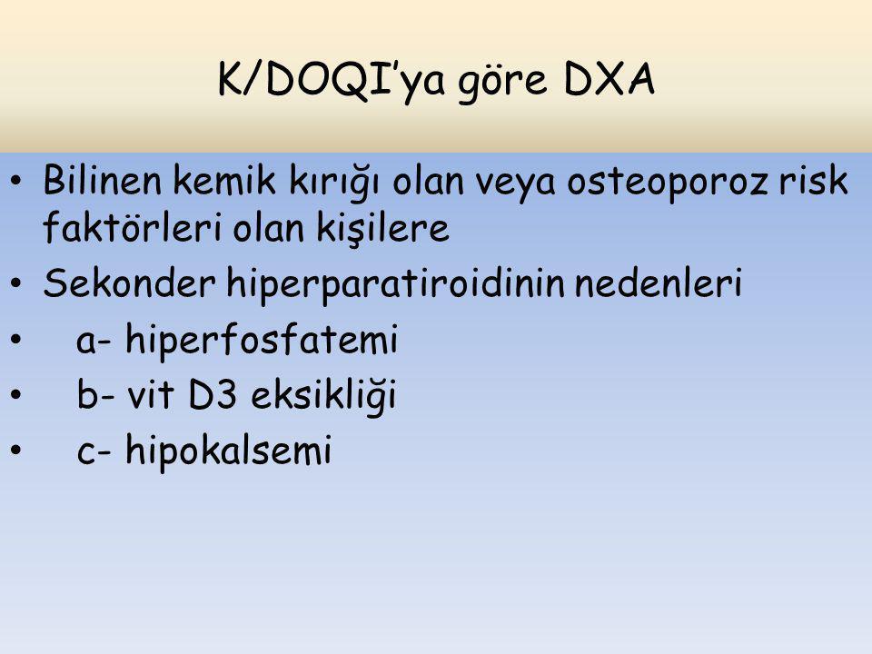K/DOQI'ya göre DXA Bilinen kemik kırığı olan veya osteoporoz risk faktörleri olan kişilere Sekonder hiperparatiroidinin nedenleri a- hiperfosfatemi b-