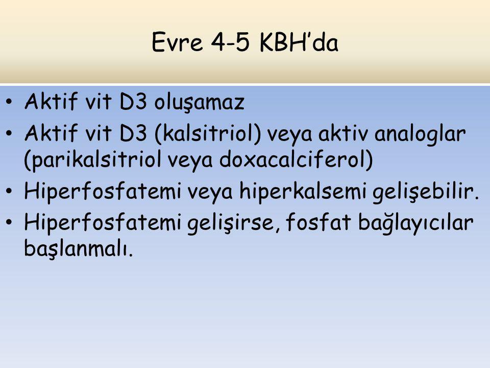 Evre 4-5 KBH'da Aktif vit D3 oluşamaz Aktif vit D3 (kalsitriol) veya aktiv analoglar (parikalsitriol veya doxacalciferol) Hiperfosfatemi veya hiperkal