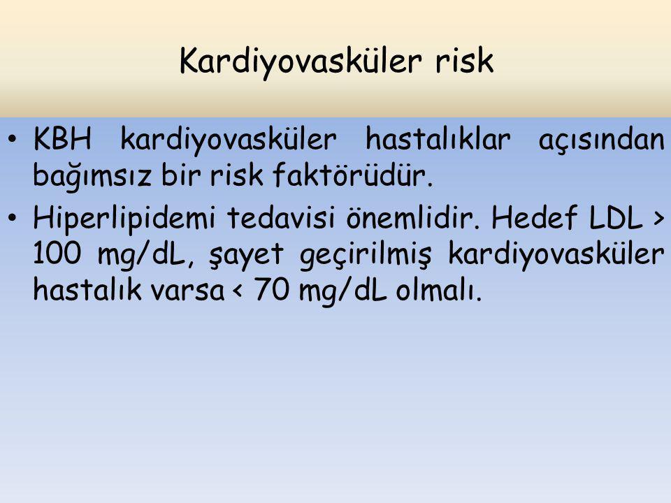 Kardiyovasküler risk KBH kardiyovasküler hastalıklar açısından bağımsız bir risk faktörüdür. Hiperlipidemi tedavisi önemlidir. Hedef LDL > 100 mg/dL,