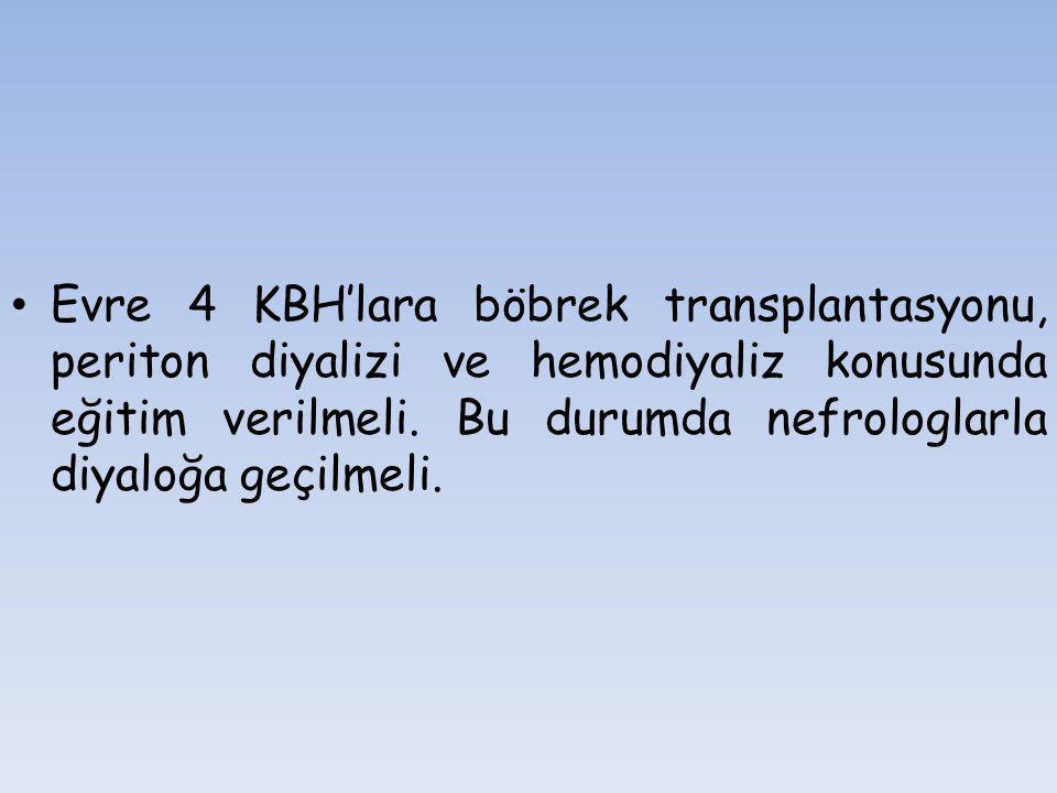 Evre 4 KBH'lara böbrek transplantasyonu, periton diyalizi ve hemodiyaliz konusunda eğitim verilmeli. Bu durumda nefrologlarla diyaloğa geçilmeli.