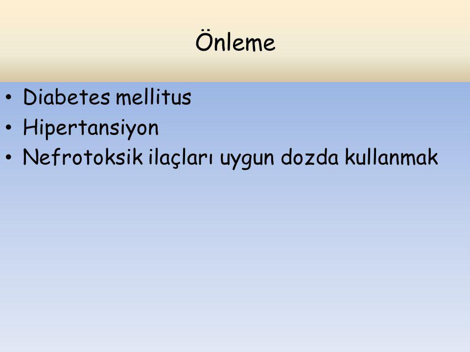 Önleme Diabetes mellitus Hipertansiyon Nefrotoksik ilaçları uygun dozda kullanmak