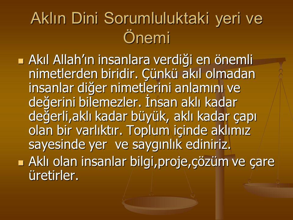 Aklın Dini Sorumluluktaki yeri ve Önemi Akıl Allah'ın insanlara verdiği en önemli nimetlerden biridir.