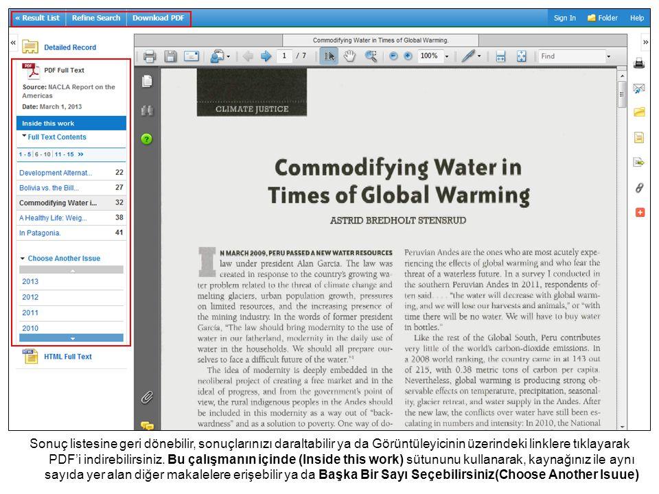Sağdaki simgeleri kullanarak, makaleyi klasöre ekleyebileceğiniz(Add the article to the folder) gibi E- mail ile gönderebilir ya da makaleyi Aktarabilirsiniz(Export)