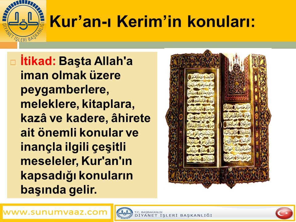 Kur'an-ı Kerim'in konuları:  İtikad: Başta Allah'a iman olmak üzere peygamberlere, meleklere, kitaplara, kazâ ve kadere, âhirete ait önemli konular v