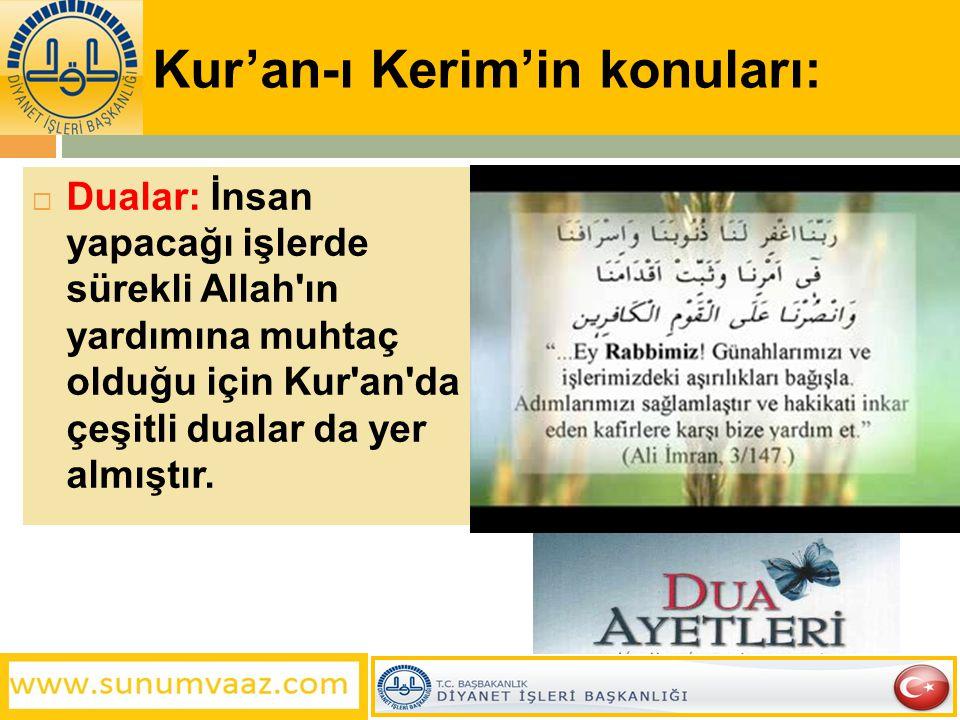 Kur'an-ı Kerim'in konuları:  Dualar: İnsan yapacağı işlerde sürekli Allah'ın yardımına muhtaç olduğu için Kur'an'da çeşitli dualar da yer almıştır.